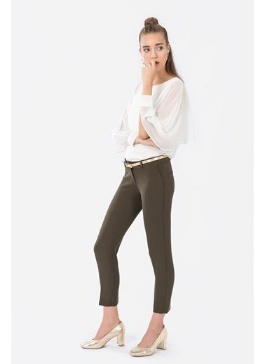 İroni Dar Paça Kumaş Pantolon Haki